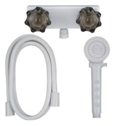 Shower Faucet, Hose, And Handle Kit For Rv, Campers, And Trailers In White/smoke