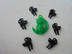 Vintage Style Halloween Charms-Plastic-Gum Ball-Owl Moon-W Black Cats-7 charms