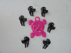 Vintage Style Halloween Charms-Plastic-Gum Ball--Skull-Pink Black Cats 7 charms