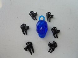 Vintage Style Halloween Charms-Plastic-Gum Ball--Skull-Blue Black Cats 7 Charms