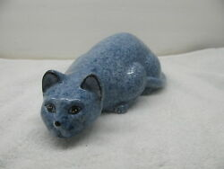 Older Large Ceramic Blue Calico Cat in Crouch Position Marked Calico China