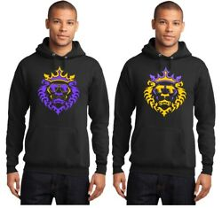 New Lebron James La Lakers Lion With Shades Logo Purple Yellow On Black Hoodie