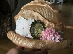 Exquisite One-of-a-kind Vintage, With Cameo, Flower Hat 1980s