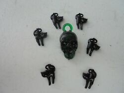 Vintage Style Halloween Charms-Plastic-Gum Ball--Skull-Green-Black Cats-7 Charm