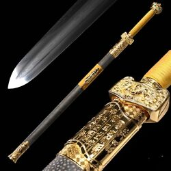 Feather Grain Pattern steel Admiral Sword Pure copper Fittings gold-plate #015