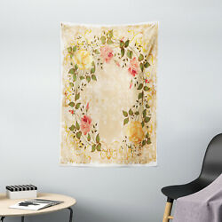 Vintage Tapestry Leaves Roses Floral Print Wall Hanging Decor