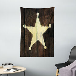 Western Tapestry Rustic Wooden Lone Star Print Wall Hanging Decor