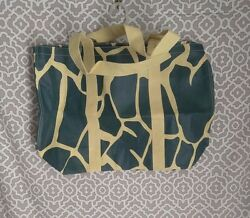Old Navy Straw Blue Animal Print Extra Large Beach Bag Tote