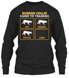 Funny Border Collie Training Guide - To Sit Down Gildan Long Sleeve Tee T-Shirt