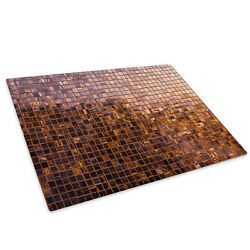 Retro Brown Squares Glass Chopping Board Kitchen Worktop Saver Protector