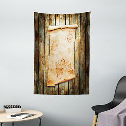 Pirate Tapestry Map on Grunge Timber Print Wall Hanging Decor