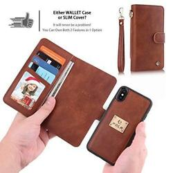 iPhone Xs Max Wallet Case PU Leather 6 Card Slots Wristlets Detachable Brown New