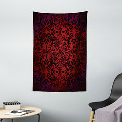 Red Black Tapestry Orient Flowers Leaves Print Wall Hanging Decor