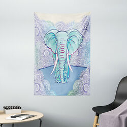 Elephant Tapestry Ethnic Oval Motifs Print Wall Hanging Decor