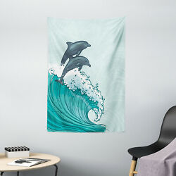 Dolphin Tapestry Sea Waves Sketch Art Print Wall Hanging Decor