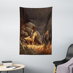 Western Tapestry Cowboy Riding Horse Print Wall Hanging Decor