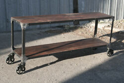Industrial Cart Console Table. Mid Century Modern Sofa Table. Vintage Tv Stand.