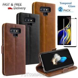 FOR SAMSUNG GALAXY NOTE 9 LUXURY MAGNETIC FLIP LEATHER WALLET CASE + 2X TEMPERED