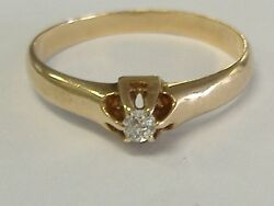 Antique Solid 14k Gold 0.06ct Old Miner's Diamond Engagement Ring Size 5.75-6