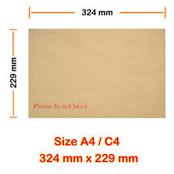 C5 C4 C3 C6 Sizes Hard Board Backed Envelopes Please Do Not Bend Brown Manilla