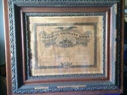 Antique Rare Certificate National Orphans Home May 28-1895 Tiffin .ohio