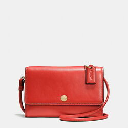 Coach Phone Crossbody Purse Red Watermelon Smooth Leather Small 63154 New