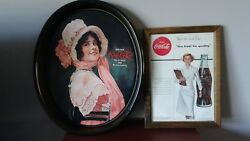 Lot Vintage 1972 Reproduction Coca Cola Oval Betty Girl Tin Tray+nurse Ad Framed