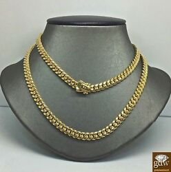 Real 14k Yellow Gold Cuban Link Chain 8mm 26 Inch Box Lock Miami Cuban Necklace
