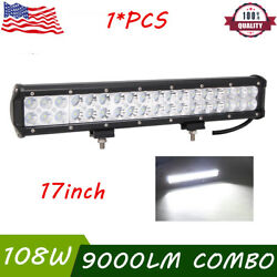17inch 108w Led Work Light Bar Spot Flood Combo Offroad Driving Suv 4wd Boat Gmc