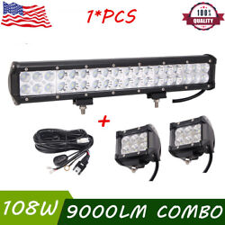 17inch 108w Led Work Light Bar Driving Ute Car And 2x18w Flood Pods And Harness Kit