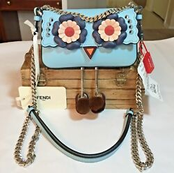 NWT Authentic Fendi Micro Baguette Blue Leather Cross Body Bag with Feet..