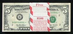 100 Consecutive 1993 5 Star Frn Federal Reserve Notes New York Ny Gem Unc.