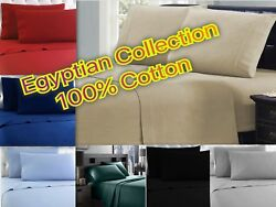 Winter Flannel 100 Cotton Sheet Set - Egyptian Collection - 4 Piece Bed Set