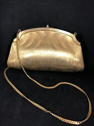 Judith Leiber Vintage Brushed Gold Clam Shell Evening Bag W Gold Chain Strap 21D