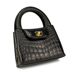Chanel Crocodile Mini Teeny Tiny Kelly Alligator Gold CC Tote Bag