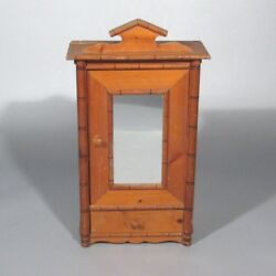 Vintage French Wooden Doll Furniture Armoire Wardrobe With Mirror, Bamboo