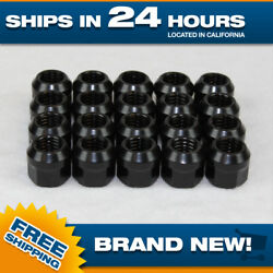 1/2x20 Black Lugnuts - Set Of 1000 Pcs - New Steel Open Ended Nuts