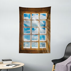 Rustic Tapestry Window with Sunbeams Print Wall Hanging Decor