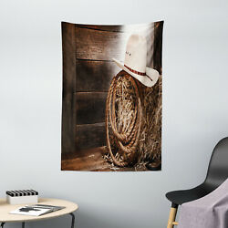 Western Tapestry Wooden Folk Robe Hat Print Wall Hanging Decor