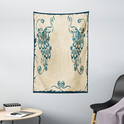 Beige Teal Tapestry Vintage Peacock Bird Print Wall Hanging Decor