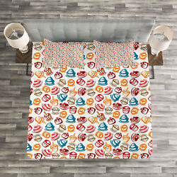 Culinary Quilted Bedspread And Pillow Shams Set Cupcakes Cakes Creams Print