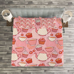 Polka Dots Quilted Bedspread And Pillow Shams Set Teapots Cups Cakes Print