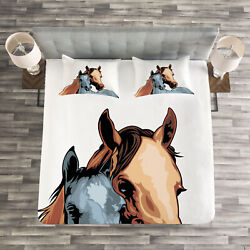 Country Quilted Bedspread And Pillow Shams Set, Farm Life Two Horses Print