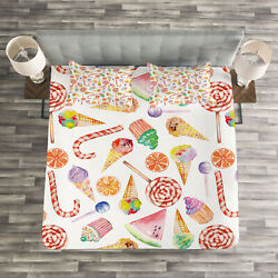 Colorful Quilted Bedspread And Pillow Shams Set Yummy Candies Cakes Print