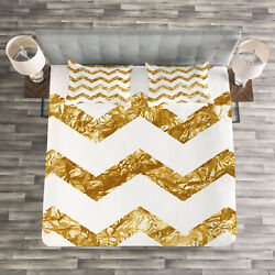 Chevron Quilted Bedspread And Pillow Shams Set Zigzag Pattern Modern Print