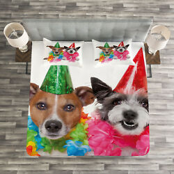 Colorful Quilted Bedspread & Pillow Shams Set Birthday Terrier Print