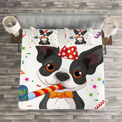 Black White Quilted Bedspread & Pillow Shams Set Boston Terrier Dog Print