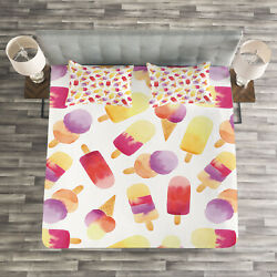 Ice Cream Quilted Bedspread And Pillow Shams Set Watercolor Cone Print