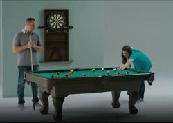 Billiard Pool Table + Dartboard And Cabinet + Cue Rack With All Game Accessories
