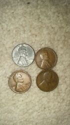 💰u.s Lincoln Pennies 1930, 1940,1943, 1953 Vintage Old Wwii Era Coin